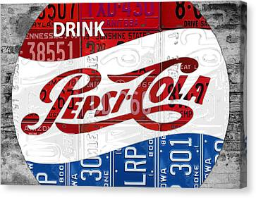 Pepsi Cola Vintage Logo Recycled License Plate Art On Brick Wall Canvas Print by Design Turnpike