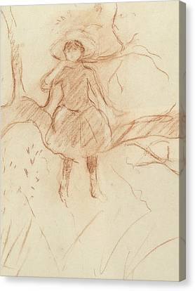 Perching In The Tree Canvas Print by Berthe Morisot
