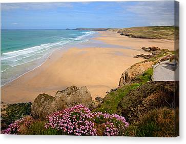 Perranporth Beach North Cornwall England One Of The Best Surfing Beaches In The Uk Canvas Print by Michael Charles