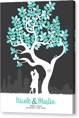 Personalized Dallas Texas Skyline Wedding Gift Canvas Print by Aged Pixel