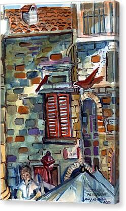 Perugia Street Cornor Canvas Print by Mindy Newman