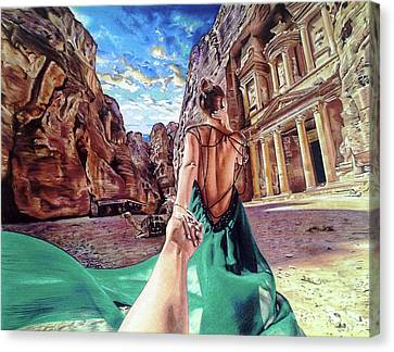 Petra - Follow Me To Drawing Canvas Print by Daniel Daniel