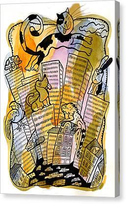 Pets And The City Canvas Print by Leon Zernitsky