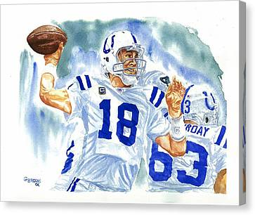 Peyton Manning - The Technician Canvas Print by George  Brooks