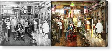 Pharmacy - Collins Pharmacy 1915 - Side By Side Canvas Print by Mike Savad