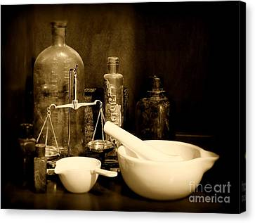 Pharmacy - Mortar And Pestle - Black And White Canvas Print by Paul Ward