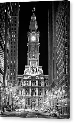Philadelphia City Hall At Night Canvas Print by Val Black Russian Tourchin