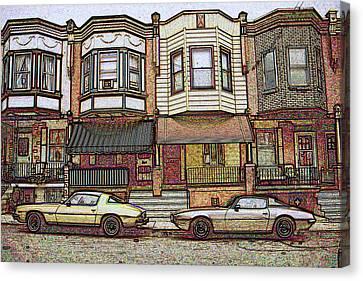 Philadelphia Homes - Color Pencil Canvas Print by Art America Online Gallery