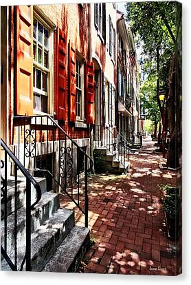 Philadelphia Pa Street With Orange Shutters Canvas Print by Susan Savad