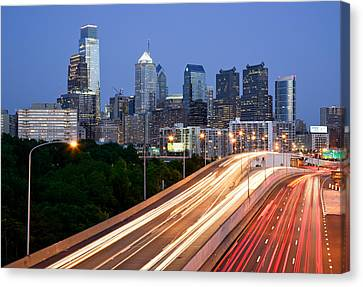 Philadelphia Skyline Night Canvas Print by Binh Ly