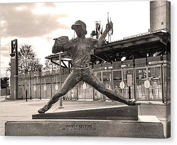 Phillies Hall Of Famer Steve Carlton In Sepia Canvas Print by Bill Cannon