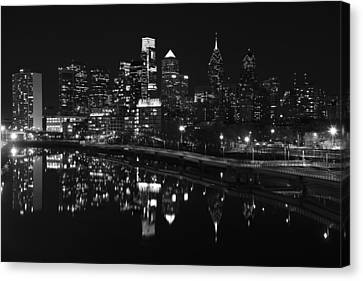 Philly And The Schuylkill Bw Canvas Print by Jennifer Ancker