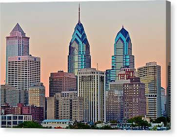 Philly At Sunset Canvas Print by Frozen in Time Fine Art Photography
