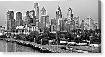 Philly Gray And White Canvas Print by Frozen in Time Fine Art Photography