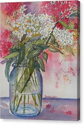 Phlox In Mason Jar Canvas Print by Donna Cary