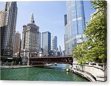 Photo Of Chicago Skyline At Michigan Avenue Bridge Canvas Print by Paul Velgos