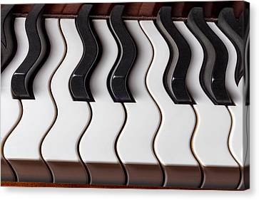 Piano Keyboard Waves Canvas Print by Garry Gay