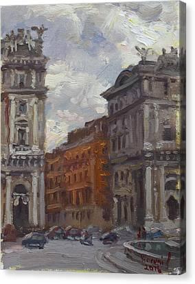 Piazza Della Repubblica Rome Canvas Print by Ylli Haruni