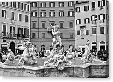 Piazza Navona Monochrome Canvas Print by Frozen in Time Fine Art Photography