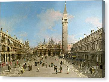 Piazza San Marco Looking Towards The Basilica Di San Marco  Canvas Print by Canaletto