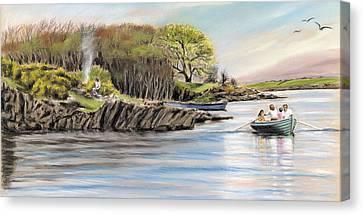 Picnic On The Lake Canvas Print by Vanda Luddy