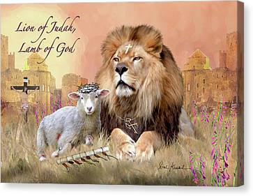 Pictures Of Jesus - Christian Religious Art Lion Of Judah Lamb Of God Canvas Print by Dale Kunkel Art