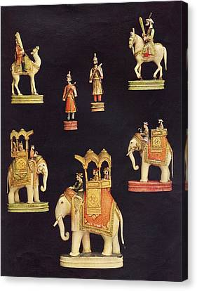Pieces From A Chess Set In Carved And Canvas Print by Vintage Design Pics