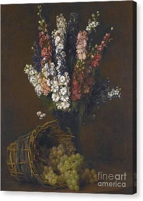 Pieds Dalouette Et Raisins Blancs Canvas Print by Victoria Dubourg