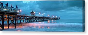 Pier In Blue Panorama Canvas Print by Gary Zuercher