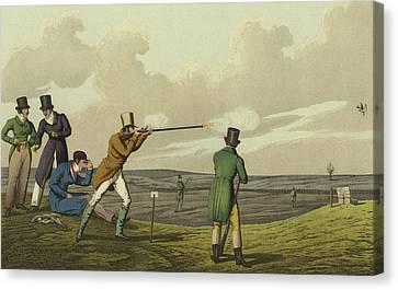 Pigeon Shooting Canvas Print by Henry Thomas Alken