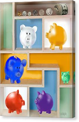 Piggy Banks Canvas Print by Arline Wagner