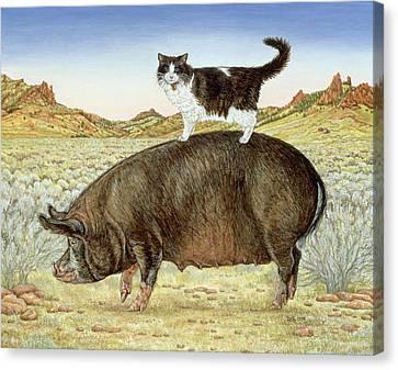 Piggyback-riding At Breteche Creek Canvas Print by Ditz