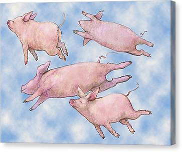 Pigs Fly Canvas Print by Peggy Wilson