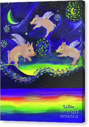 Pigs Flying Into Starry Night Canvas Print by To-Tam Gerwe