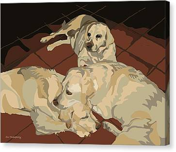 Pile Of Three Pups Canvas Print by Su Humphrey