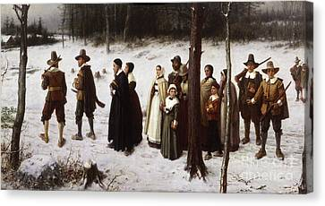 Pilgrims Going To Church, 1867 Canvas Print by George Henry Boughton