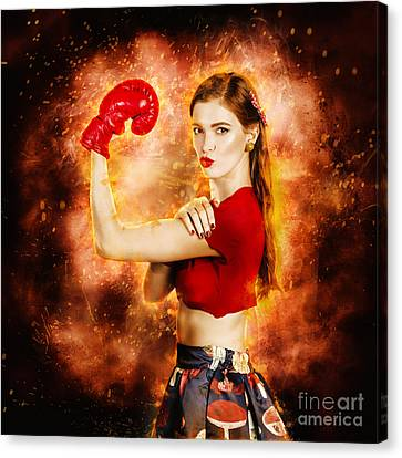 Pin Up Boxing Girl  Canvas Print by Jorgo Photography - Wall Art Gallery