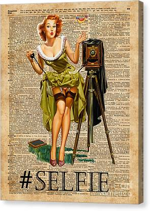 Pin Up Girl Making #selfie Vintage Dictionary Art Canvas Print by Jacob Kuch