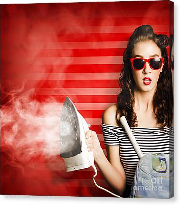Pin Up Housekeeping Maid Canvas Print by Jorgo Photography - Wall Art Gallery