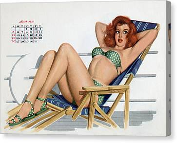 Pin Up In Bikini On A Deckchair On A Boat Canvas Print by American School