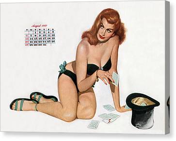 Pin Up Playing Cards Canvas Print by American School