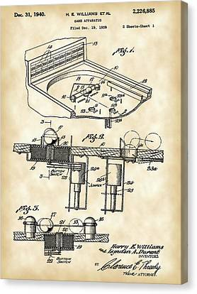 Pinball Machine Patent 1939 - Vintage Canvas Print by Stephen Younts