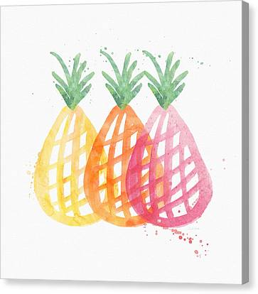 Pineapple Trio Canvas Print by Linda Woods