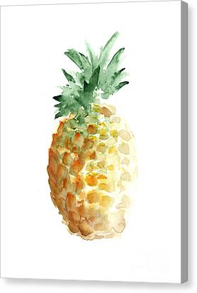 Pineapple Watercolor Minimalist Painting Canvas Print by Joanna Szmerdt