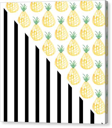 Pineapples And Stripes Canvas Print by Linda Woods