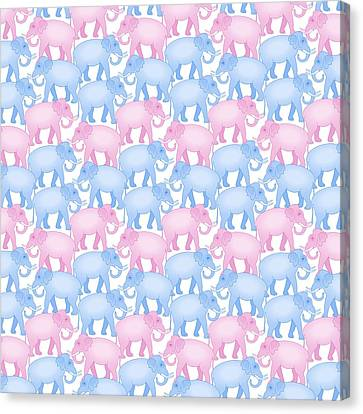 Pink And Blue Elephant Pattern Canvas Print by Antique Images