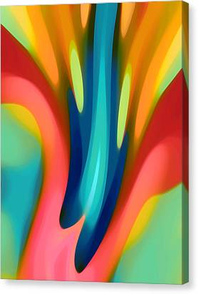 Pink And Blue Lily Vertical Canvas Print by Amy Vangsgard