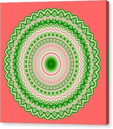 Pink And Green Mandala Fractal 002 Canvas Print by Ruth Moratz