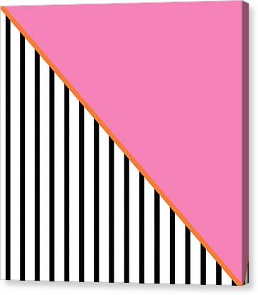 Pink And Orange And Black Geometric Canvas Print by Linda Woods
