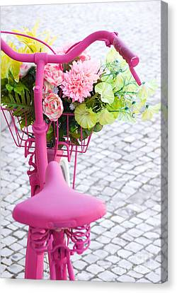 Pink Bike Canvas Print by Carlos Caetano